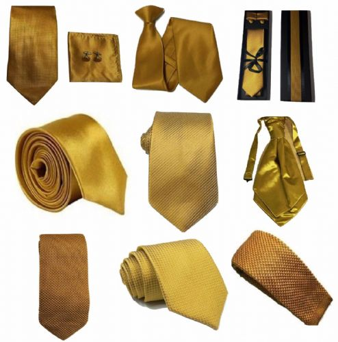 Golden Mustard Collection Woven Paisley Jacquard Silk Knit Satin Tie Wedding lot
